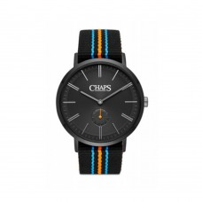 Chaps Dunham Black Grosgrain and Black IP Three-Hand Watch